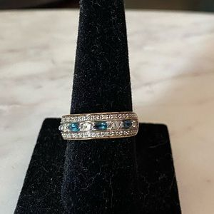 Bradford Exchange blue & white sapphire ring